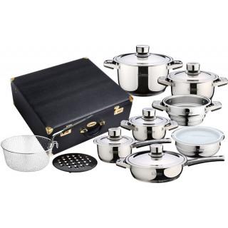 Набор посуды 17пр. из нержавеющей стали Royal RL-555 в кожаном чемодане