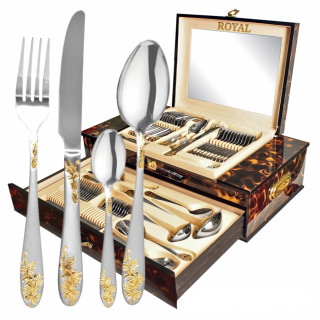 Набор столовых приборов в янтарном чемодане ROYAL 72 предмета