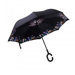 Зонт наоборот (Черный с цветами) UPBRELLA