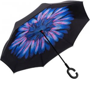 Зонт наоборот (Голубой цветок) UPBRELLA
