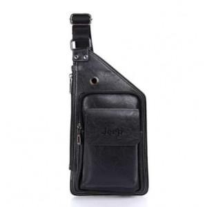 Мужская кожаная сумка Jeep (черный)