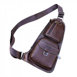 Кожаная мужская сумка Jeep (темно-коричневая)