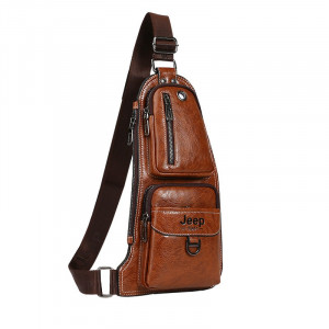 Кожаная мужская сумка Jeep (светло-коричневая)