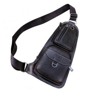 Кожаная мужская сумка Jeep (черная)