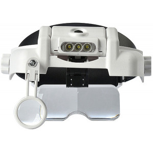 Лупа налобная с подсветкой 3 LED Helmet Magnifier MG81000S