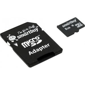 Карта памяти Smart Buy MicroSD 8 GB Class10 с адаптером