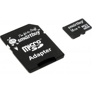 Карта памяти Smart Buy MicroSD 16 GB Class10 с адаптером