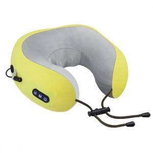 uTravel подушка для путешествий, массажная подушка, роликовый массаж, прогрев, автоотключение, GESS-136 yellow