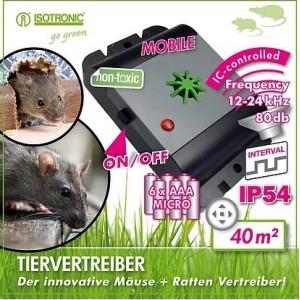 MICE+RATS REPELLER Мобильный ультразвуковой отпугиватель крыс и мышей