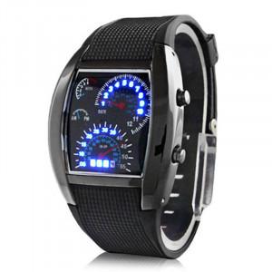 Мужская Turbo Стиль светодиодный цифровой Rubber Band наручные часы