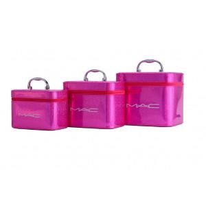 Косметичка-сундучок набор 3в1 цвет розовый