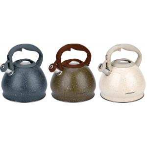 Чайник стальной со свистком Vissner VS-88044 (3,0л, серый, коричневый, кремовый)